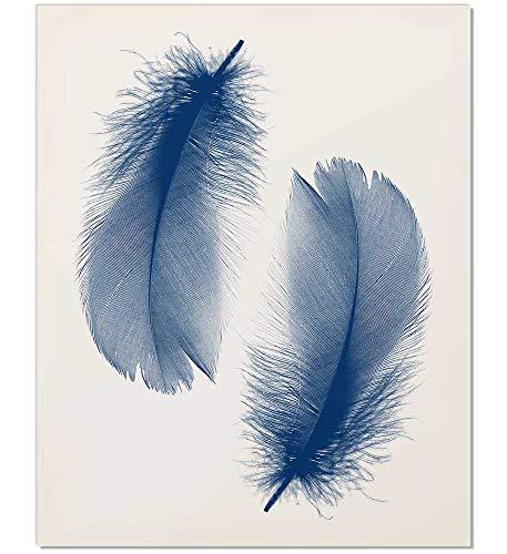Feather Print, Feather Art, Navy Feather Print, Feather Wall Art, Navy Blue Print, Dark Blue Print, Bohemian Wall Art, Navy Wall Print, Feather Art Print, Modern Wall Art, Minimalist Print, 8x10]()