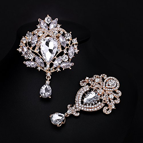 WeimanJewelry Silver/Gold Plated 24pcs Crystal Rhinestones Brooch Pins for DIY Wedding Bouquets Kit (Gold large 6pcs) by WeimanJewelry (Image #4)