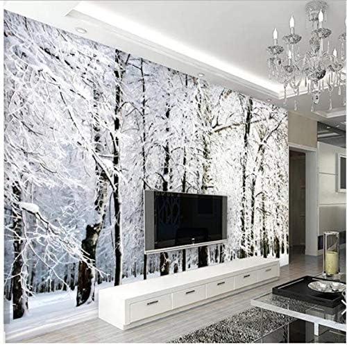 YFXGSTLI Murales de Pared Murales de Nieve Bosque Mural de Papel de Pared 3D para la