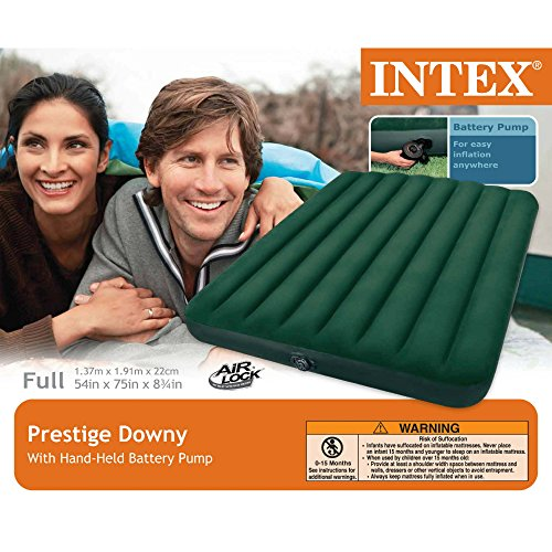 Intex Prestige Downy Airbed Kit with Hand Held Battery Pump, Full