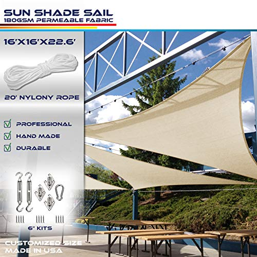 Windscreen4less 16 x 16 x 23 Right Triangle Sun Shade Sail with 6 inch Hardware Kit – Rust Red Durable UV Shelter Canopy for Patio Outdoor Backyard – Custom