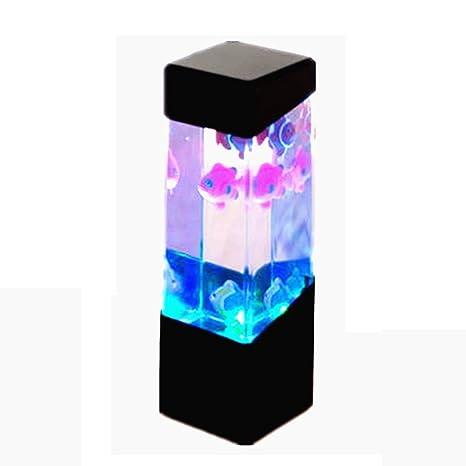 SODIAL Acuario de Medusa Tanque de Agua con LED Luz Lampara de Humor Relajante en la