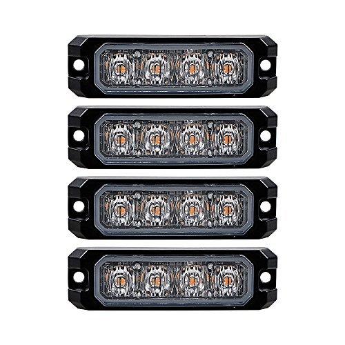 4 LED Warning Light 20W LED Work Light Ultra-thin 11 Mode Car Emergence Strobe Light Bar( Amber color - Canada Spot Tracker