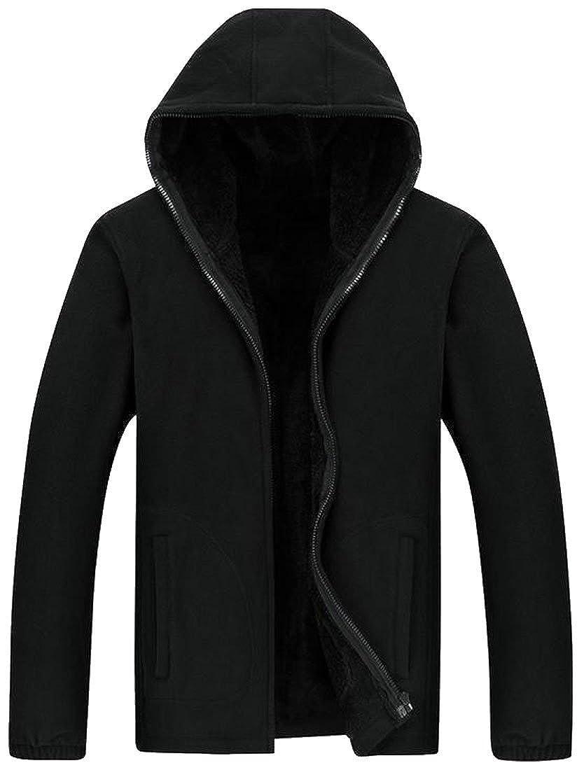Blyent Mens Casual Zipper Jacket Winter Thicken Hooded Coat Fleece Lined Sweatshirt