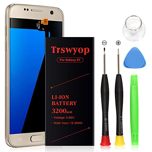 Galaxy S7 Battery,Trswyop Upgraded 3200mAh Li-Polymer Replacement Battery SM-G930(EB-BG930ABE) for Samsung Galaxy S7 G930V G930A G930T G930P with Free kit Tool [24 Month Warranty]