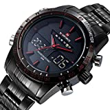 RUIWATCHWORLD Men's Luxury Stainless Steel Band Watch Quartz Clock Digital LED Watch Army Military Wrist Watch Red.