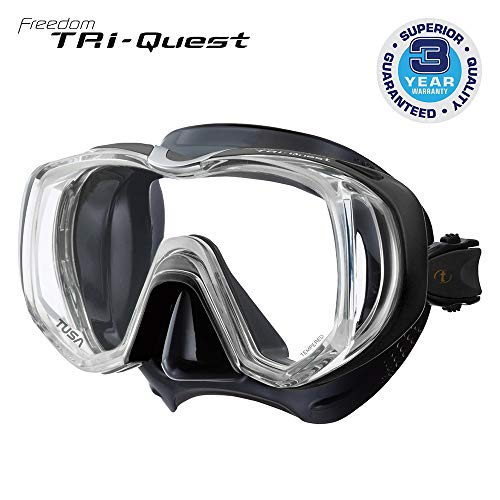 TUSA M-3001 Freedom Tri-Quest Scuba Diving Mask, Black/Black