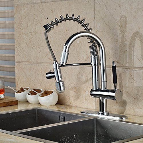 LED Changing Color Pull Down Spray Kitchen Faucet Swivel Sput Sink ...