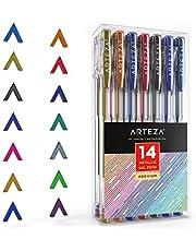ARTEZA Ensemble de 14 Stylos Gel Métalliques - Couleurs Uniques - Corps Triangulaire - Pointes Fines 0.8 -1.0 mm (Kit de 14 En Poche Plastique)