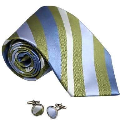 8058 Green Striped Fathers Day Gifts Handmade Silk Tie CuffLink Set By Y&G