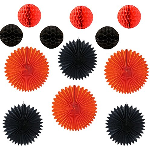 Black Orange Halloween Decoration Kit Party aper Fans Lanterns Honeycomb Balls for Party Birthday Event Decoration - /Home Decoration/ Party Pack/Birthday Decorations(Set of (Teenage Halloween Party Decoration Ideas)