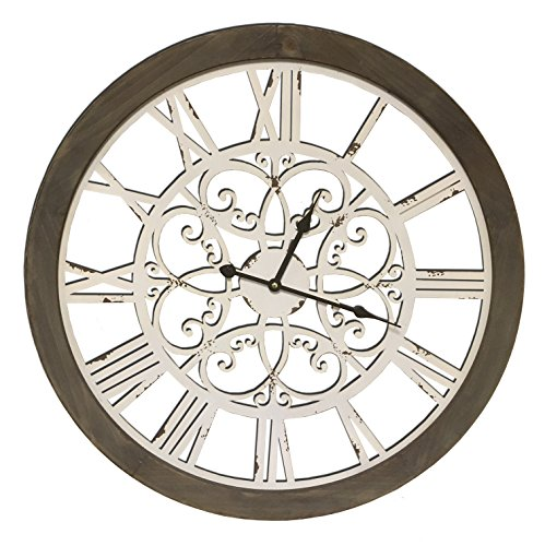 Round Decorative Metal and Wood Clock With Ornate Metal Swirl Design Quartz Movement 23 x 23 x 2 Inches Great Antique Look With Combined Materials Construction...0101 (Design Metal Decorative)