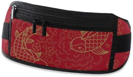 Chinese Pattern Koi Fish Running Lumbar Pack For Travel Outdoor Sports Walking Travel Waist Pack,travel Pocket With Adjustable Belt