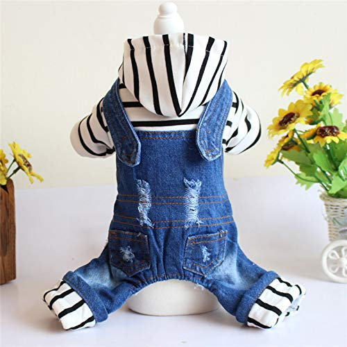bluee XL bluee XL HUAIX petsuppliesmisc Pet clothes autumn and winter clothing dog Teddy than bear striped four-legged denim hooded jumpsuit thickening bluee, Size   XL