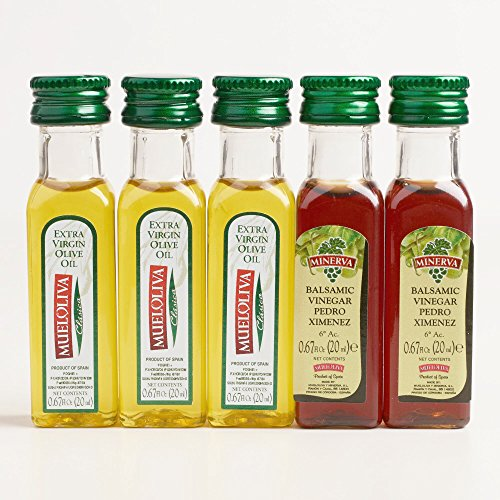- Minerva Sugar Free Extra Virgin Olive Oil and Vinegar Mini Travel Size, 5 Bottles