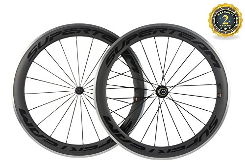 (Superteam 60mm Alloy Braking Surface Wheel Carbon Fiber 700c 23mm Clincher Wheelset)