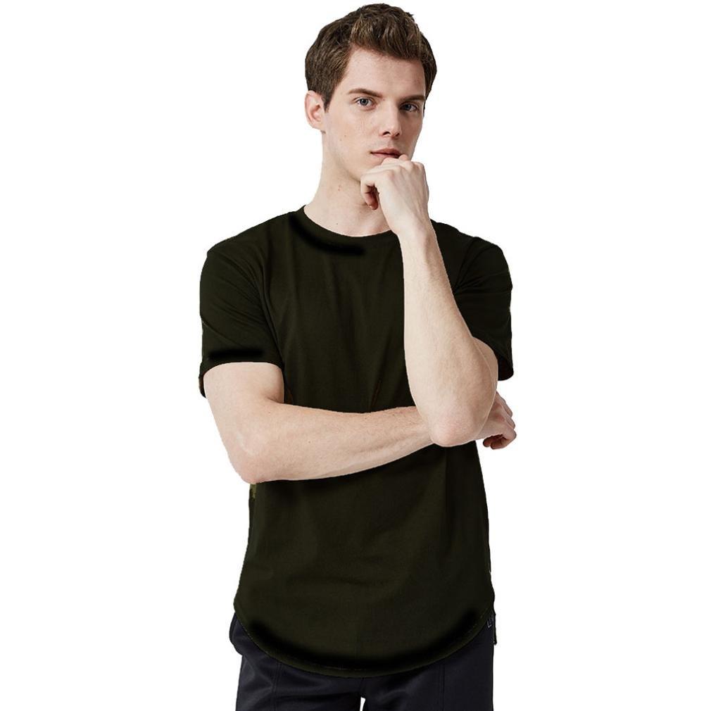 Longra Herren T-Shirt Classics T-Shirt Basic Shirt mit Rundhalsausschnit Einfarbige T-Shirts Slim Fit T-Shirt in Weiszlig; Grau Schwarz Crewneck Tee  XL Black