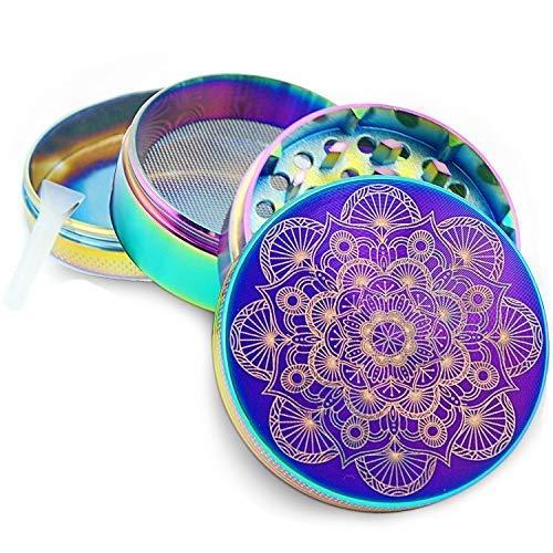 Pilot Diary Mandala Series Premium Aluminum 4 Piece Herb Grinder with Pollen Catcher 2 Titanium Blue
