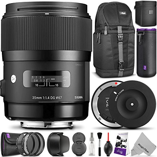 Sigma 35mm F1.4 ART DG HSM Lens for NIKON DSLR Cameras w/ Sigma USB Dock & Advanced Photo and Travel Bundle by Sigma