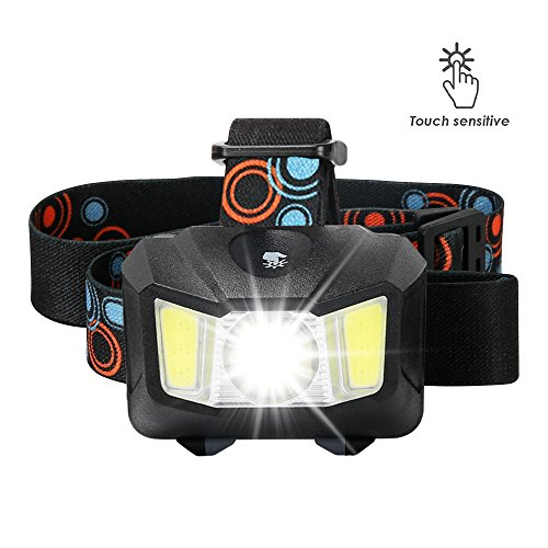 Headlamp, BESWILL Touch Sensitive Head Flashlight 4 Modes 2.9OZ Battery Powered, Super Bright 200 Lumen Max White Led + Red Light Perfect for Camping Running Reading