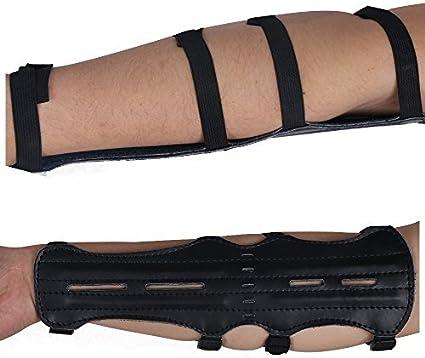 Archery Arm Guard Leather Bow Armguard Arrow Protective Gear Adjustable 4 Straps