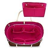 LEXSION Felt Fabric Purse Handbag Organizer Bag - MultiPocket Insert Bag Rosy M