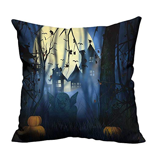 YouXianHome Household Pillowcase Scary Night Halloween Backdrop Perfect for Travel(Double-Sided Printing) 16x16 inch ()