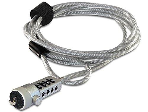 Navilock 20643 Plata, Cerradura con combinaci/ón, De pl/ástico, Acero, 1,8 m, 4,5 mm, 1 pieza Cable antirrobo s