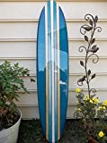 Surfboard wall hanging. Four foot teal surfboard wall decoration.