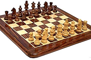 16X16 Inch Wooden Chess Board by-Wigano with 3 King Size,Beautifully Crafted Inculding 32 Pawns Wooden Chess Board Made in Finest Indian Rosewood