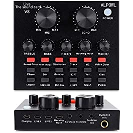 ALPOWL Mini Sound Mixer Board,Live Sound Card for Live Streaming, Voice Changer Sound Card with Multiple Sound Effects…
