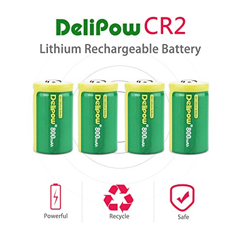 Delipow CR2 Rechargeable Batteries, 3-Volt 800mAh, Lithium Photo Battery, MSDS Certificated, Pre-Charged (4-Pack)
