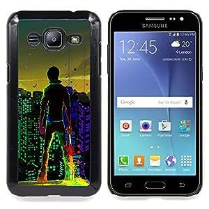Eason Shop / Premium SLIM PC / Aliminium Casa Carcasa Funda Case Bandera Cover - Neon City - For Samsung Galaxy J2 / J200