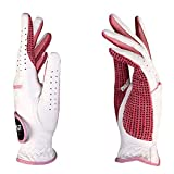 PGM Women's Leather Golf Glove One Pair, Improved Grip System, Cool and Comfortable (Pink and White)