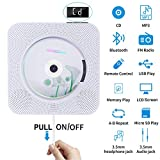 Portable CD Player with Bluetooth, Wall Mounted CD Player with Remote Control Built-in HiFi Speakers FM Radio, Music CD Player Support SD Card USB Playing 3.5mm Headphones AUX in/Out (CD Player)