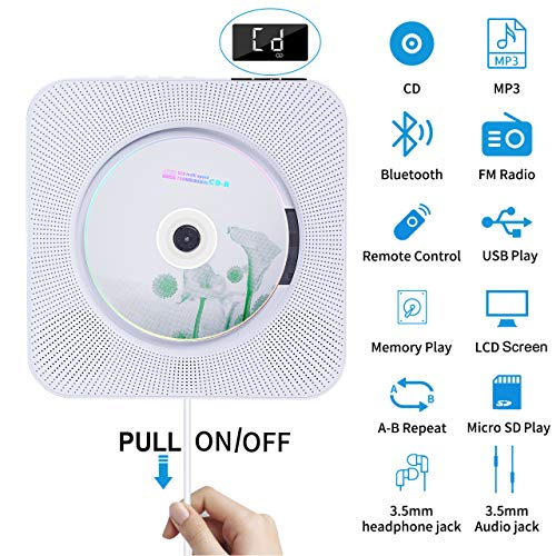 Portable CD Player with Bluetooth, Wall Mounted CD Player with Remote Control Built-in HiFi Speakers FM Radio, Music CD Player Support SD Card USB Playing 3.5mm Headphones AUX in/Out (CD Player) (Best Small Wall Mounted Speakers)