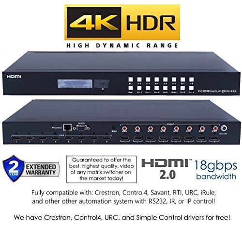 8x8 HDMI 2.0 HDR 4K 18GBPS 60HZ Matrix Switcher YUV 444 HDCP2.2 HDTV Routing Selector SPDIF Audio Control4 Savant Home Automation (8x8 HDMI - System Audio Matrix