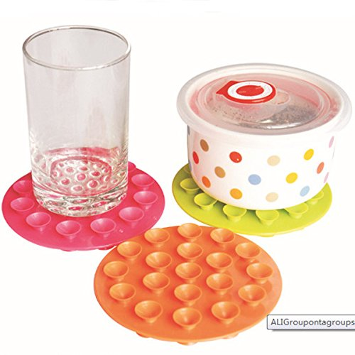 Feeding Supplies - Baby Bowl Coasters Children Sided Suction Cup Anti-Skid Pad - Sided Suction Cups Table Double Glass Pads Anti Slip Coaster Sucker Baby Bowl Coasters - For - (Constitution Bowl)