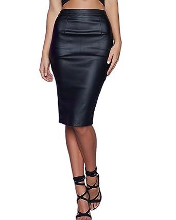 9a2082f97f04 Jupe Imitation Cuir Taille Haute Femmes Parti Jupe Crayon Midi Longue Noir  34