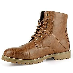 Men's Leather Dress Boots Stylish Cap Toe Combat Boots Brown (9.5 D (M) US)