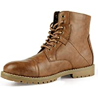 PIQYDNA Men's Leather Combat Boots Stylish Cap Toe Dress Boots Brown
