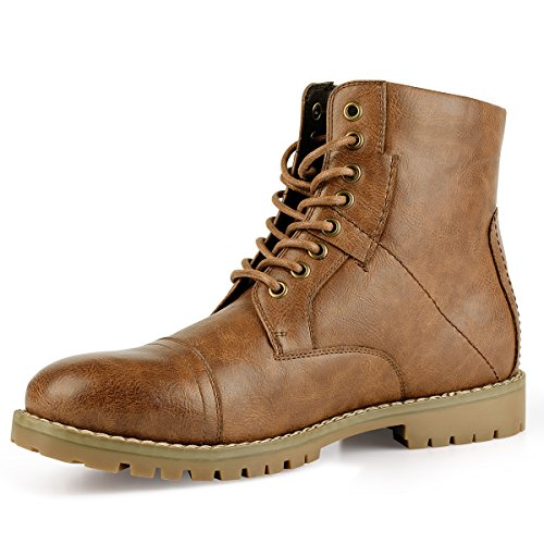 PIQYDNA Men's Leather Dress Boots Stylish Cap Toe Combat Boots Brown (10.5 D (M) US)