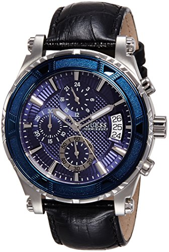 Guess-Mens-465mm-Black-Leather-Band-Steel-Case-Quartz-Blue-Dial-Analog-Watch-W0673G4