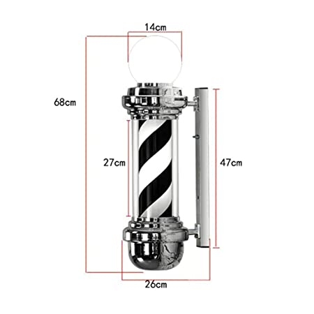 Outdoor Wall Lamp Waterproof DSFX Barbershop Pole Barber Pole Hair Salon Barber Shop Open Sign Rotating /& Illuminated Black and White Stripes Size : 68CM
