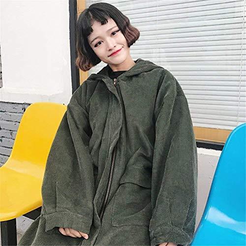 Invernali Invernali Donna HX fashion Casual Casual Trench Coste Anteriori Windbreaker A Grün con Velluto Tasche 5gptpq