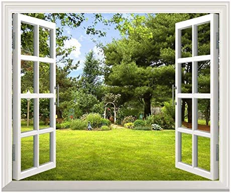 Removable Wall Sticker Wall Mural Beautiful Garden View Out of The Open Window Creative Wall Decor
