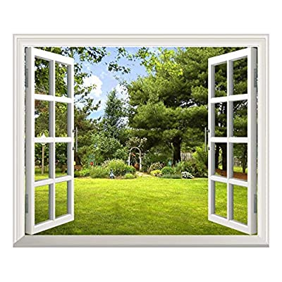 Removable Wall Sticker/Wall Mural -Beautiful Garden View Out of The Open Window Creative Wall Decor - 24