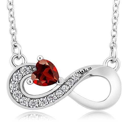 0.45 Ct Heart Shape Red Garnet 925 Sterling Silver Infinity Necklace