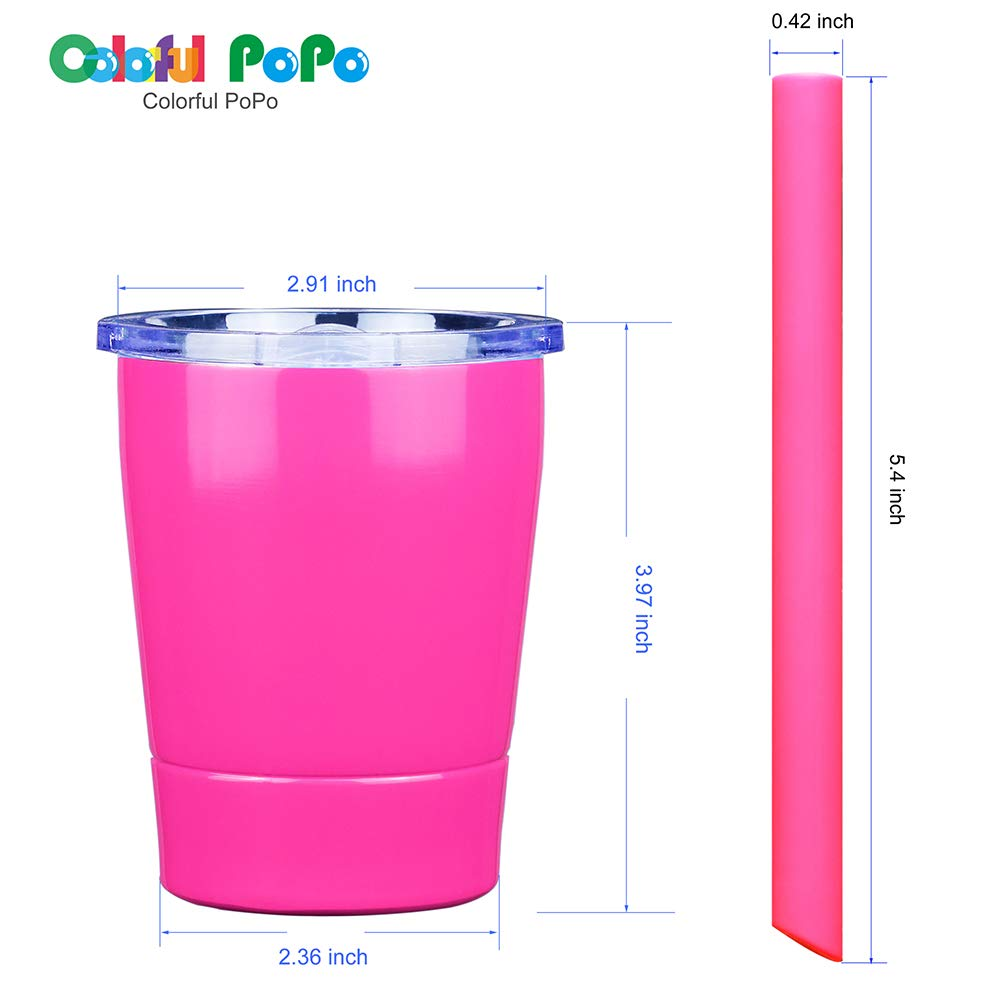 Set of 2 8.5 OZ Pink and Blue Colorful PoPo Kids Stainless Steel Cup Lovely Small Rambler Tumbler Sippy Cup with Lid and Silicone Straw