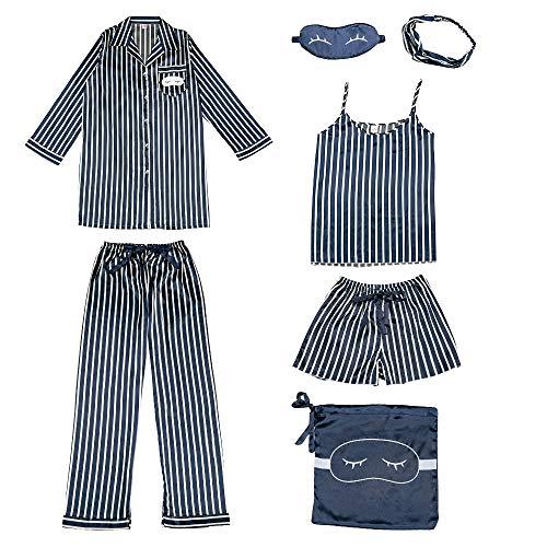COSOSA Women's Silky Satin Pajamas Sleepwear Loungewear Seven Pieces Pj Sets (Black, M)